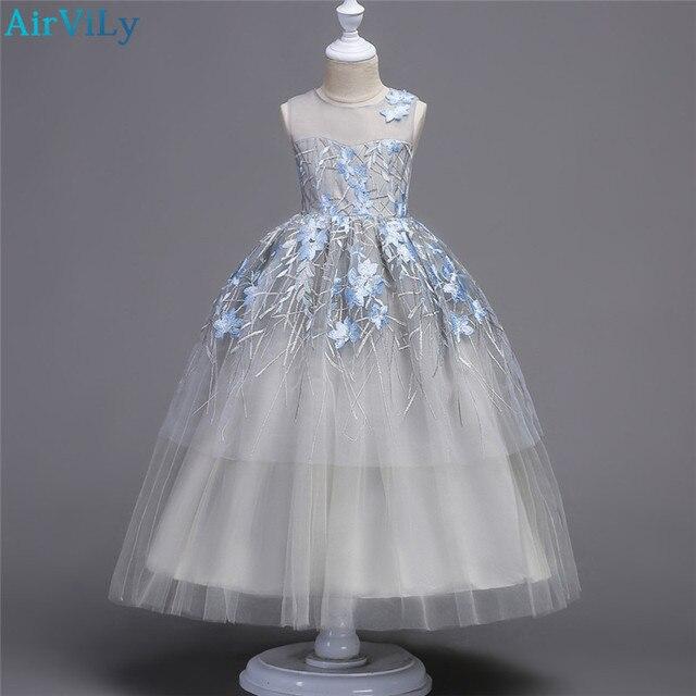 ec2c6a79994 Teenager Wedding Flower Girls Princess Tulle Dress Kids Girls Elegant  Princess Pageant Party Dress beauty Tulle Floor long Dress