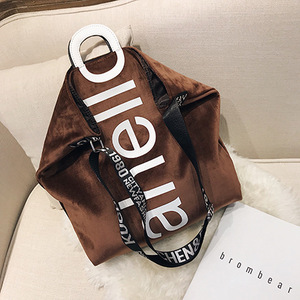 Image 3 - New Large capacity Velvet Handbag Fashion Lady Letter Shoulder Crossbody Bag High Quality Womens Shopping Bag Tote