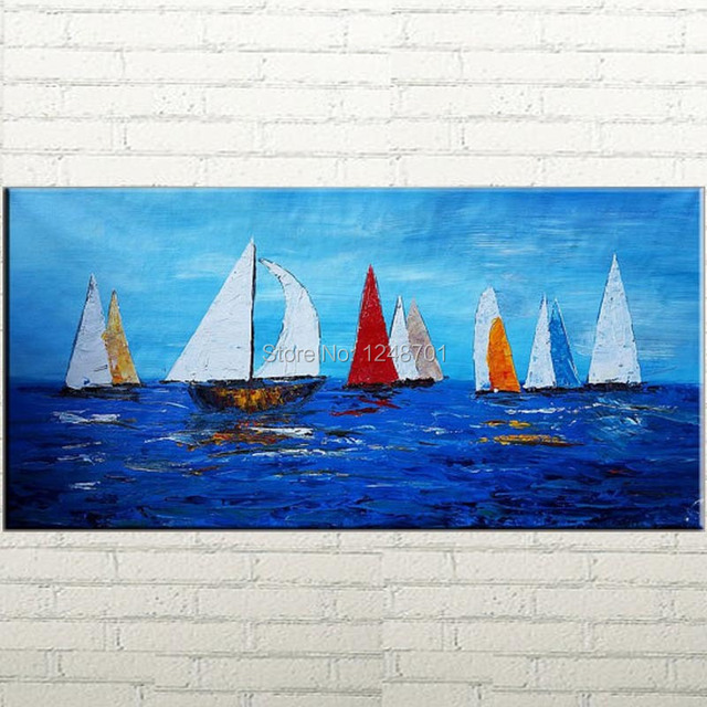 Hand Painted Sail Boat Blue Sea Abstract Oil Painting Canvas