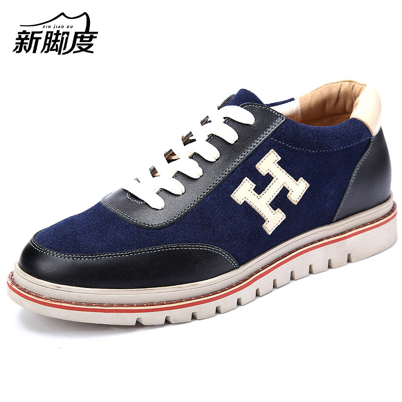 X6682 New Mens Comfortable Calf Leather Height Heels Elevated Shoes Grow Taller 6cm for Boys Blue Red Color