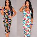 2015 лето женщины винтаж платье цветочные печати бинты карандаш платье без рукавов слэш шеи женщины платье