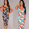 2015 summer women vintage dress floral print bandage pencil dress sleeveless slash neck women dress