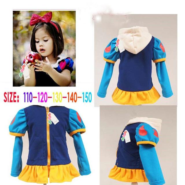 2015 new girls winter clothing moda abrigos niños niños ropa de abrigo con capucha bebé disfraces de dibujos animados blancanieves 777a