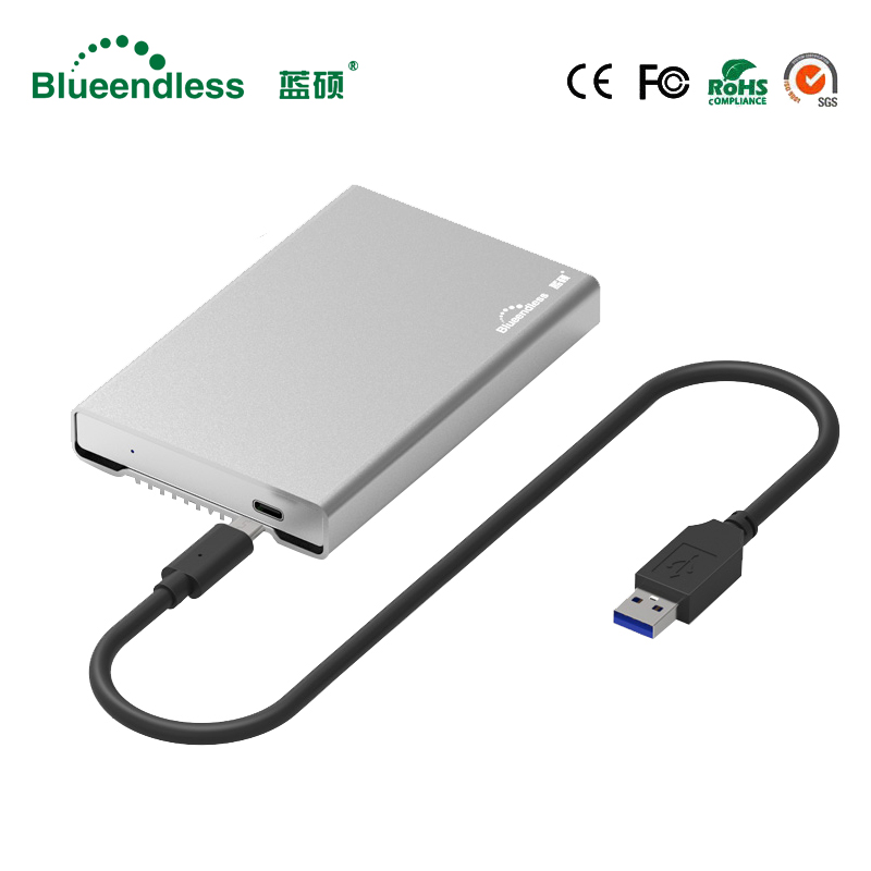Blueendless usb 3.1 type C hdd enclosure full metal aluminum hard drive caddy 2.5 external hard disk cover case for sata hdd ssd