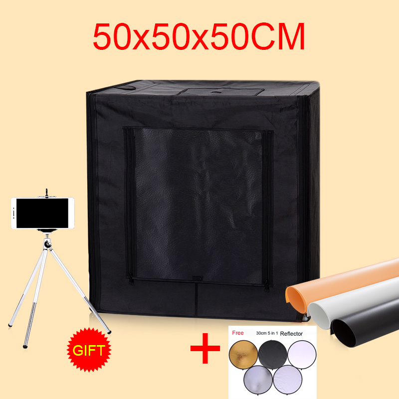50*50*50CM LED Photo Studio Soft Box Shooting Light Tent Photography Softbox Lightbox Kit With Free Gift puluz 40 40cm 16light photo studio box mini photo studio photograghy softbox led photo lighting studio shooting tent box kit
