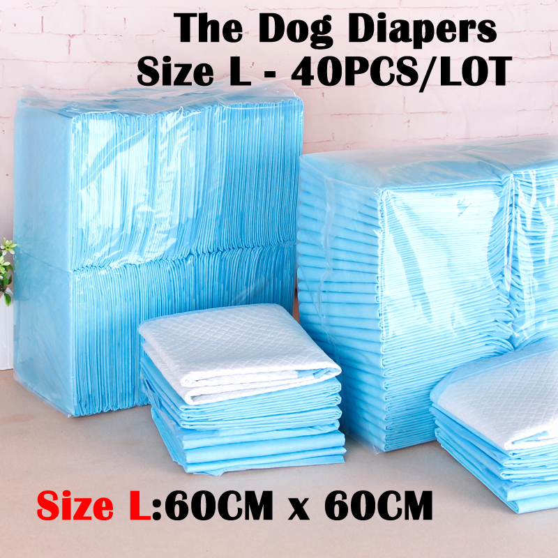 Dog Diapers Size L(60CM*60CM) 40 pieces Dog Cleaning Supplies Thickening Absorbent Disposable Diapers dogs antibiotic diapers