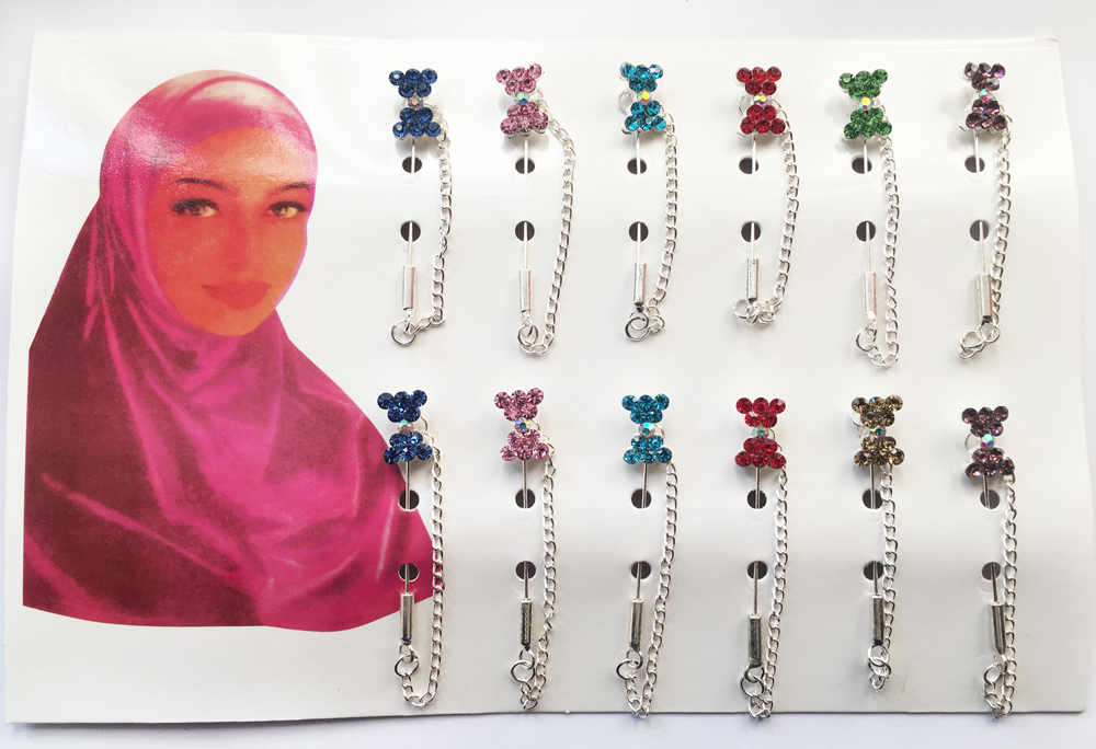 2018 Wholesale Hijab Pins Brooches 12PCS Flower Crystal Muslim For Women Safety Scarf Pin Silver Pins Mixed Color