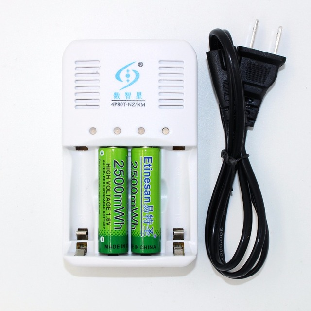 2 Pcs Etinesan NiZn 16V 2500mwh AA Rechargeable Battery 4 Ports Ni Zn