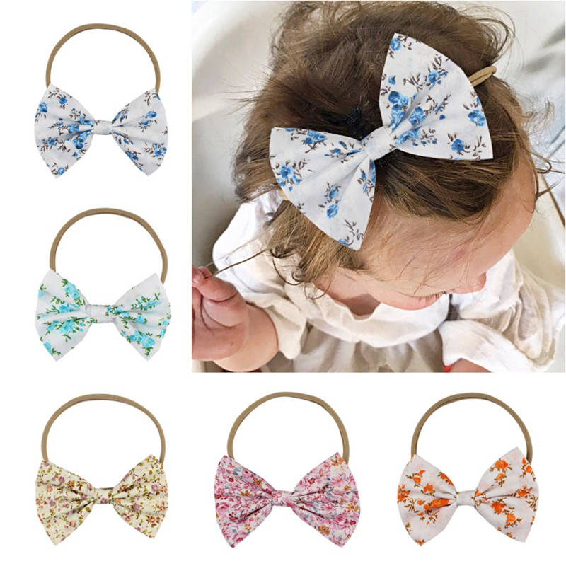 2018 New Baby Girls Nylon Headbands Hair Bows Elastic Bands Newborn Infant Toddler Hairbands Accessories