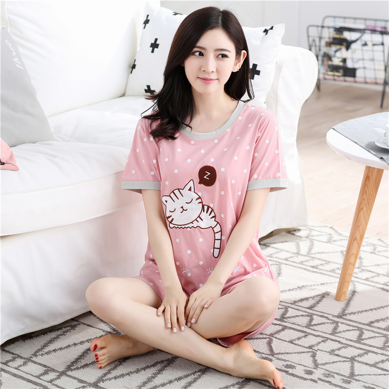 Pajamas     set   for women Summer Lady Short sleeve cute cartoon knitted cotton home clothes suit Women's Day Gifts plus size pyjamas