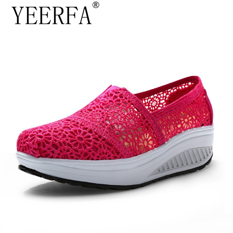 YIERFA Breathable Women Shoes Lace Loafers Summer Wedges Lose Weight Creepers Platform Shoes Woman Slip On Flats Swing shoes minika women sandals summer shoes breathable lace flats platform wedges lose weight creepers summer sandals cd41