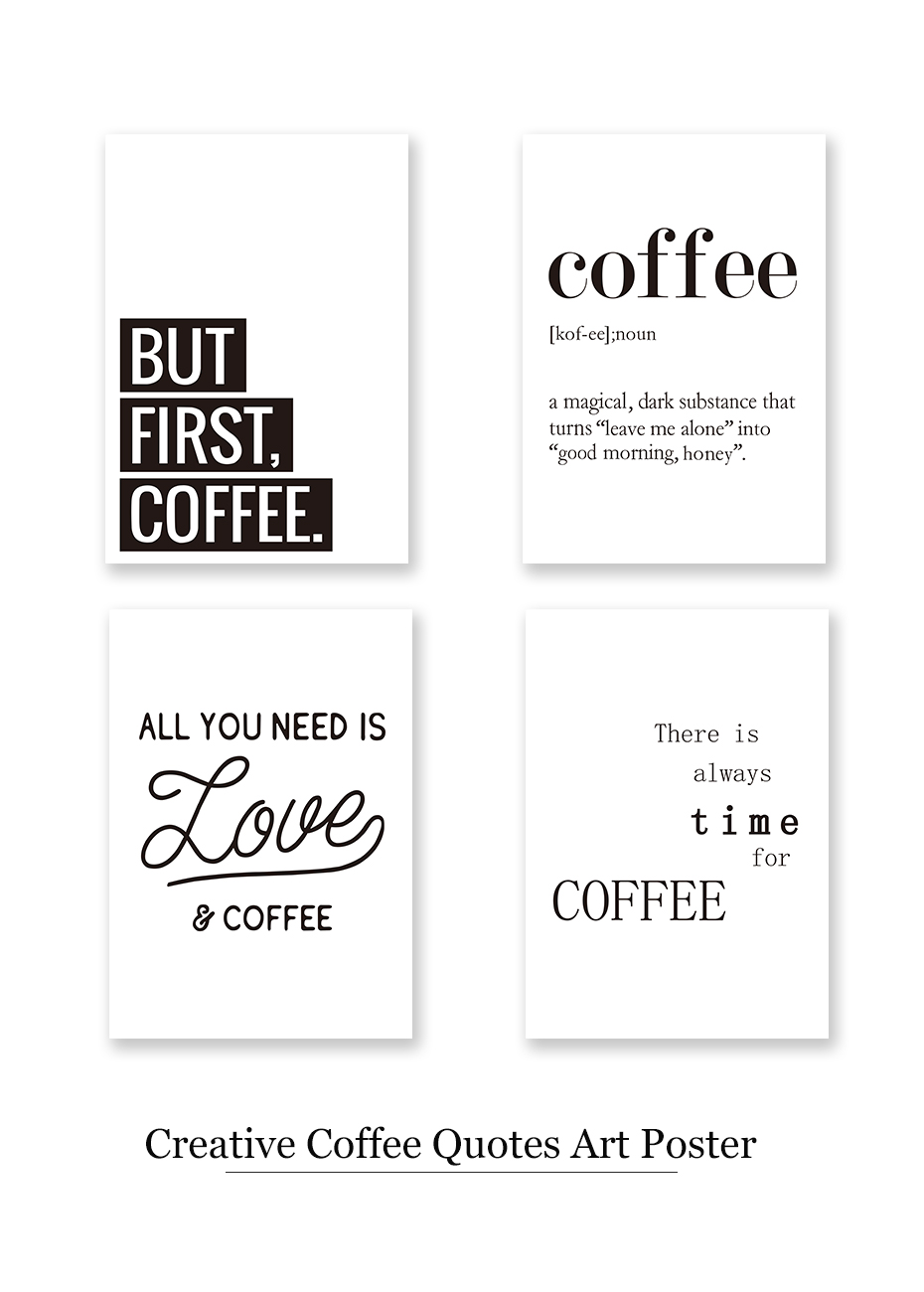 Creative Coffee Life Quote Wall Art Black&White Prints Canvas Painting Nordic Modern Vintage Poster Living Room Home Decor Mural (1)