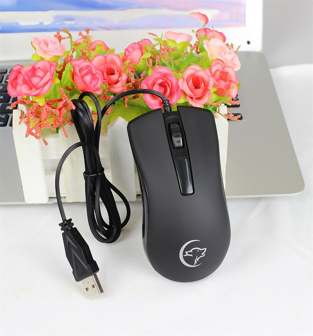 Wired 2400DPI Optical USB Ergonomic Mouse For Gamers Computer Office PC