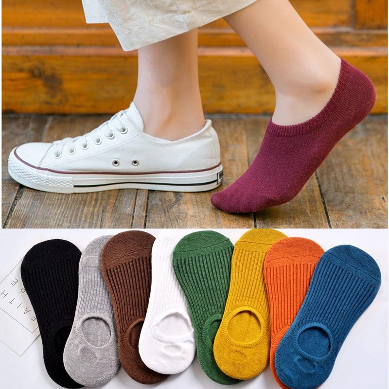 Летние женские тапочки ярких цветов, новые милые однотонные невидимые нескользящие носки с низким вырезом, повседневные хлопковые Дышащие ...