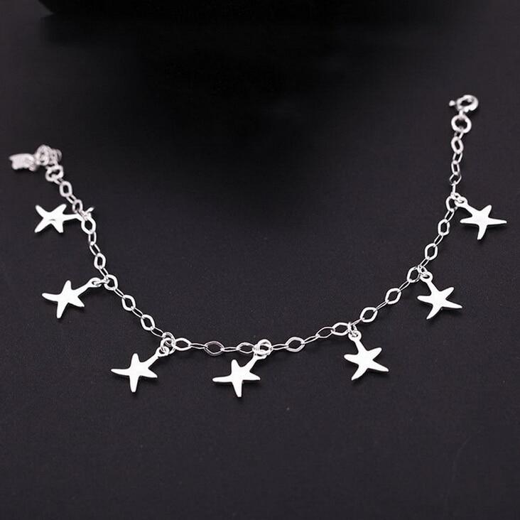 925 Sterling silver jewelry Simple Cute Starfish Star Bracelets ...