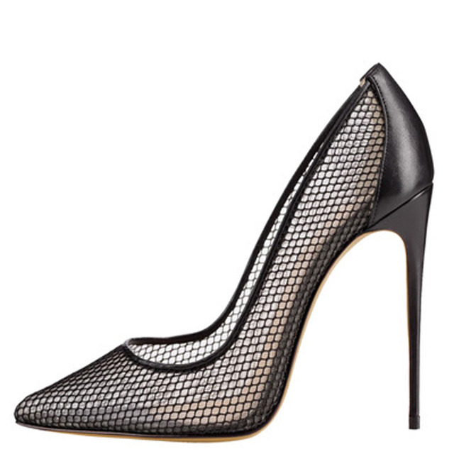 514e8c3794ec Sexy Women Summer Fine Mesh Patchwork Pointed Toe Pumps Ladies 12 cm High  Heels Ladies Celebrity Party Shoes Female Stilettos