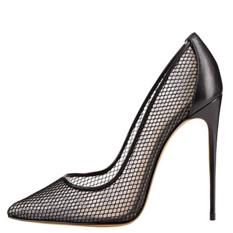 Sexy Women Summer Fine Mesh Patchwork Pointed Toe Pumps Ladies <font><b>12</b></font> <font><b>cm</b></font> <font><b>High</b></font> <font><b>Heels</b></font> Ladies Celebrity Party Shoes Female Stilettos image