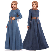 Indonesia Fashion denim dress women bangladesh arabic blue dress hijab evening dresses muslim dress sale islamic clothing Dress
