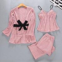 3 Pieces Velour Sleepwear Set Winter Warm Pajamas Set Long Sleeve Pyjamas V neck Pijama Fashion NIghtwear Homewear For Women