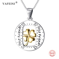 925 Sterling Silver Best Friends Engraved Letter Pendant Necklace Gold Clovers Happiness Wish Statement Necklace For Friends