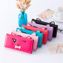 2016 Cute Cartoon Pattern Fashion Design Cat Women Wallets and Purses Brand Leather Long Wallet Female Coin Pocket Card Holders