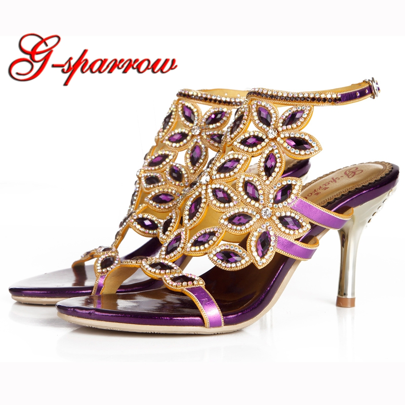 Gorgeous Women Sandals Genuine Leather Summer Pumps Purple