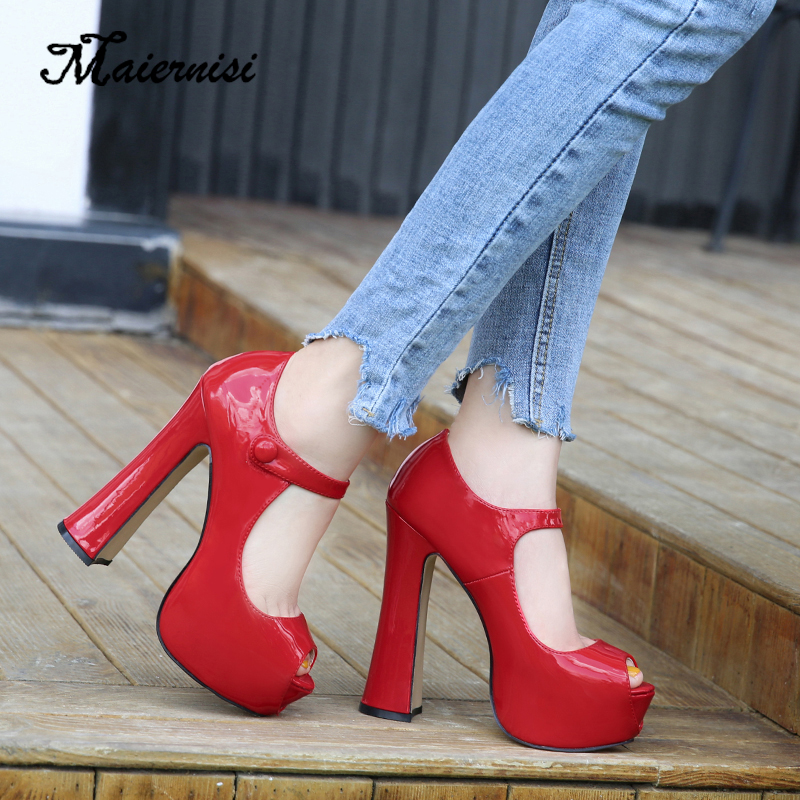 MAIERNISI Shoes Pumps Platform 14cm High-Heels Fish-Mouth Sexy Single Solid Shallow