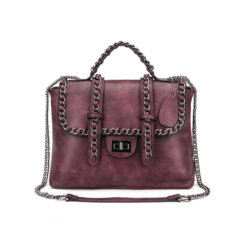Fashion Retro Women Shoulder Bag with a Chain Strap High Quality PU Leather Handbags Black Cool Crossbody Bag Ladies Casual Tote retro lady s pu hand one shoulder bag w strap black