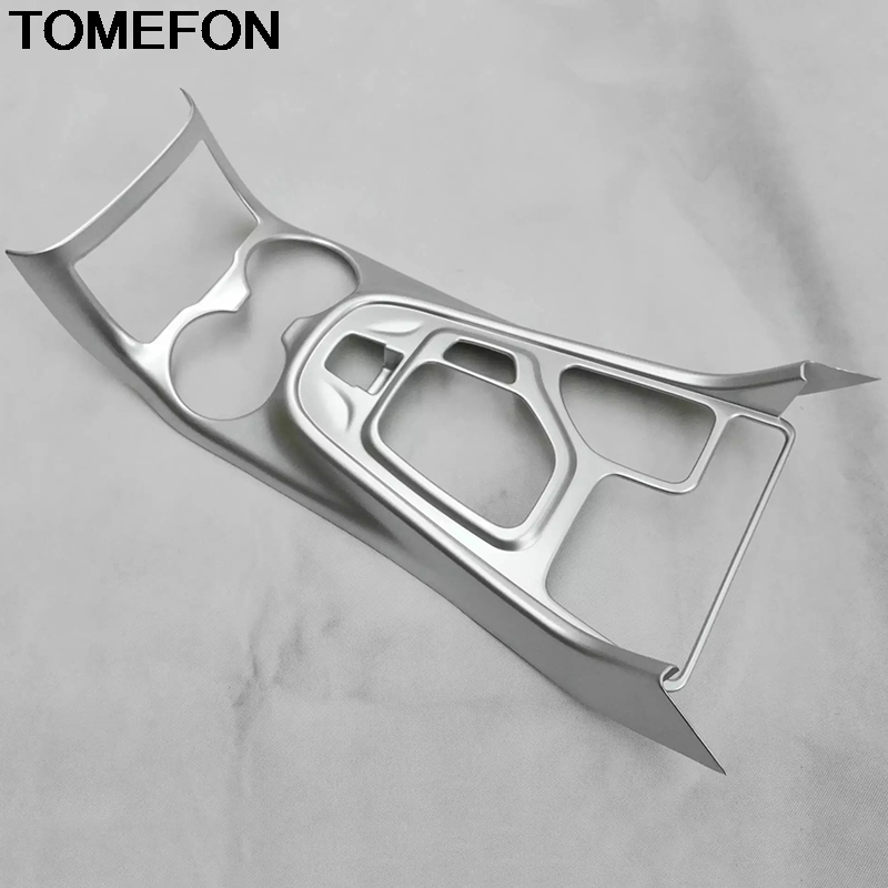 TOMEFON For Jeep Cherokee 2014 2015 2016 2017 2018 LHD Interior Gear Shift Box Water Cup Holder Frame Cover Car Trim ABS Chrome