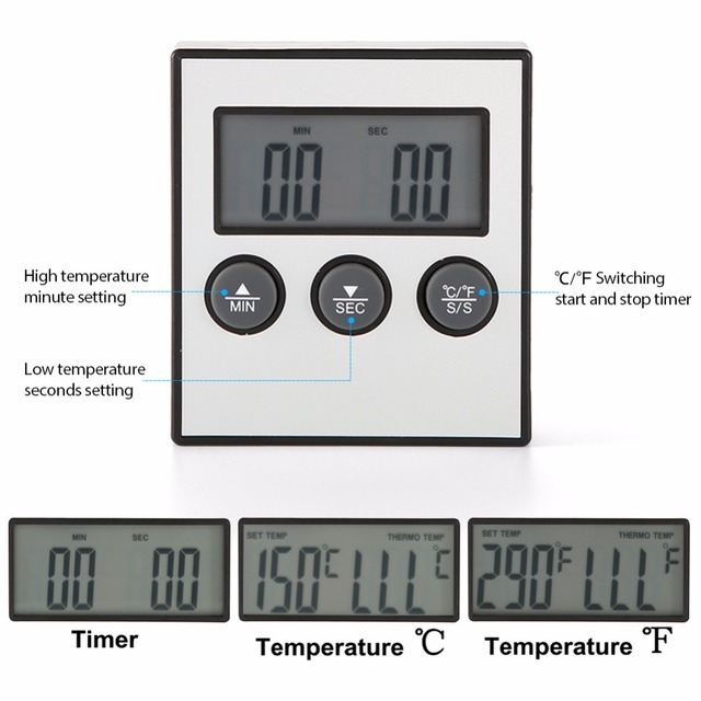 LCD Digital Display Food Thermometer Temp Time Display with Probe Kitchen Cooking Baking BBQ Meat Kitchen Thermometer
