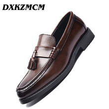 DXKZMCM Men Dress Shoes Handmade Brogue Style Paty Leather Wedding Shoes Men Flats Leather Oxfords Formal Shoes