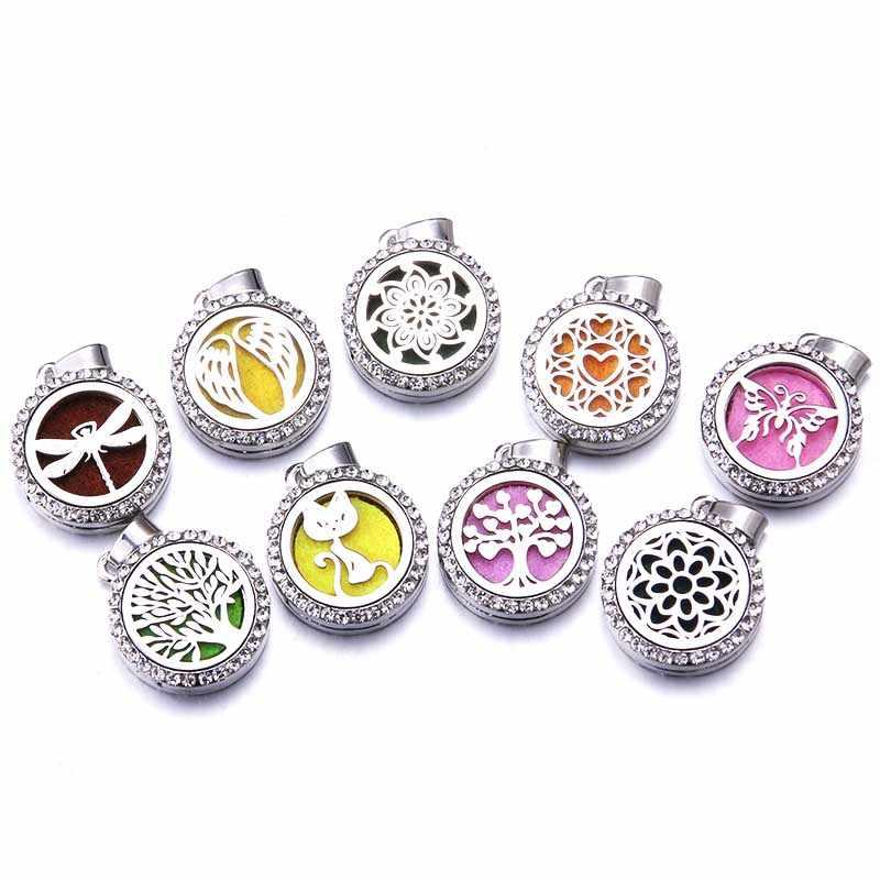 Yeni zirkon Aroma parfüm difüzör madalyon kolye paslanmaz çelik manyetik kolye uçucu yağ aromaterapi kutusu takı