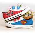 spiderman Superman kids sneakers cartoon shoes hand painted shoes boys spring canvas casual flts footwear