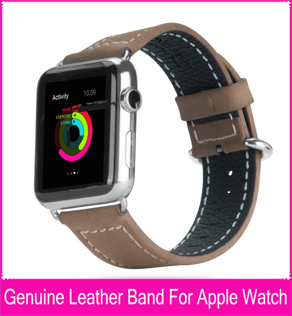100% Genuine Leather Band For Apple Watch 42mm 38mm With 1:1 Original Classic Buckle & Metal Adapter Watchbands Free Shipping
