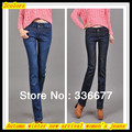 Free Shipping Autumn winter new arrival women's cotton high quality thicken keep warm skinny washed jeans QR-2492