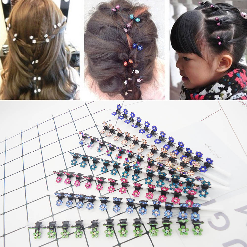 2019 New Girl Small Crystal Flowers Metal Hair Claws Children Mini Rhinestone Hair Clamp Kids Hair Oranment Clips Baby Hairpins(China)