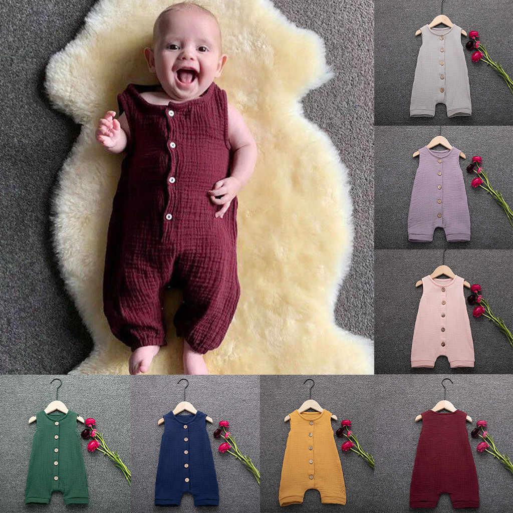 ผ้าฝ้ายเด็ก Romper ทารกฤดูร้อนเด็กวัยหัดเดินเด็กชาย & หญิง Ruffles เสื้อกั๊ก Romper Jumpsuit เสื้อผ้าเด็กทารกเครื่องแต่งกาย 2020