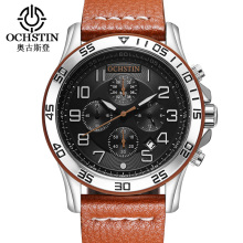 купить OCHSTIN Fashion Sport Men Watches Top Brand Luxury Genuine Leather Quartz Chronograph Wrist Watch Men Waterproof Relojes Hombre по цене 1105.93 рублей