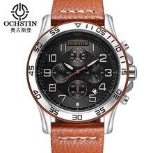 OCHSTIN Fashion Sport Men Watches Top Brand Luxury Genuine Leather Quartz Chrono