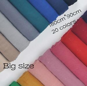 1 Pcs Plain Hijabs For Women Viscose Solid Shawl Glitter Gold Scarf Muslim Head Wrap Elegant Scarves 20 Colors Plus Size