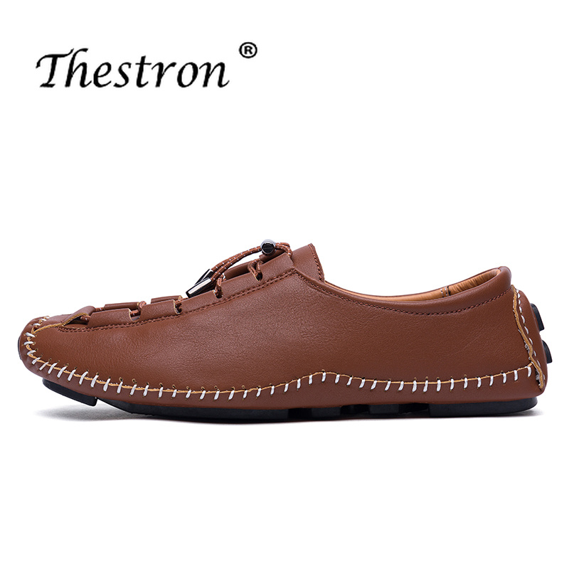 Thestron Men Shoes Footwear 2018 Mens Casual Sneakers Slip on Casual Sneakers Black Male Leather Summer Autumn Luxury Sneakers