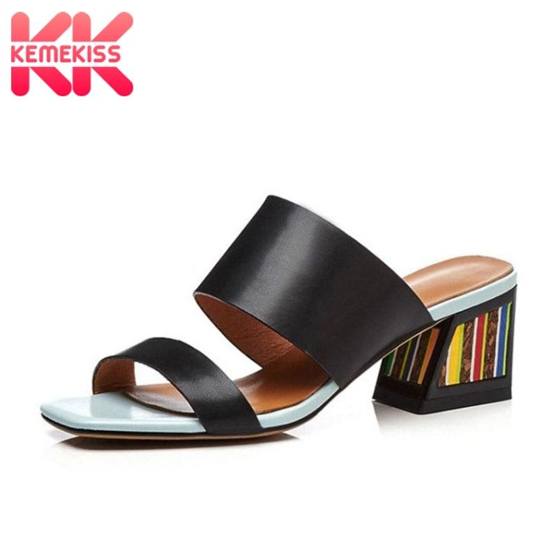 KemeKiss Women High Heels Sandals Genuine Leather Summer Shoes For Women Fashion Stripe Beach Slides Sexy
