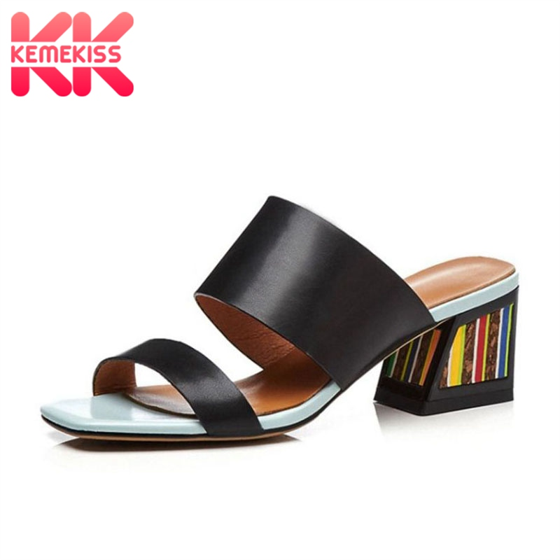 KemeKiss Women High Heels Sandals Genuine Leather Summer Shoes For Women Fashion Stripe Beach Slides Sexy Slippers Size 33-43KemeKiss Women High Heels Sandals Genuine Leather Summer Shoes For Women Fashion Stripe Beach Slides Sexy Slippers Size 33-43