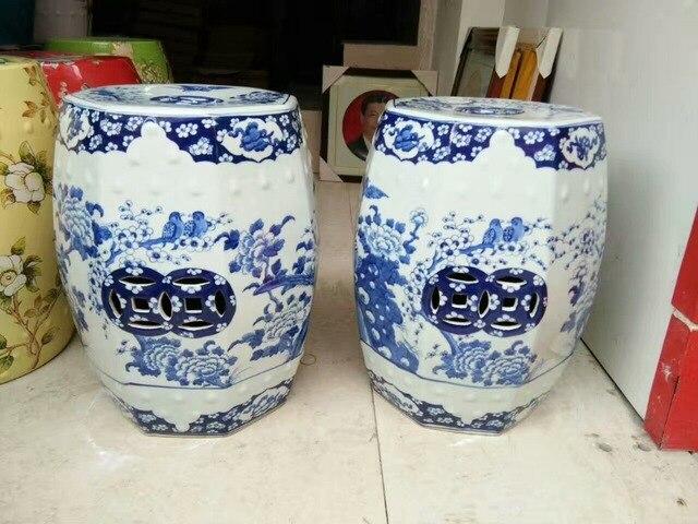 Sgabello Da Giardino In Ceramica : Blu bianco antico sgabello per toletta sgabello tamburo sgabello