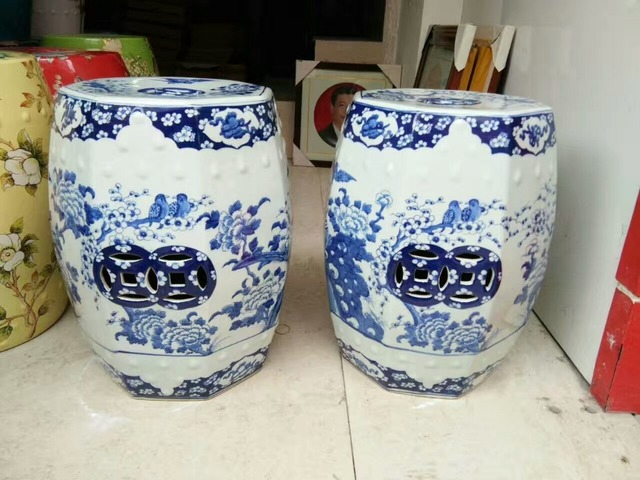 Blue White Antique Stool For Dressing Table Drum Stool Chinese Porcelain Garden  Stool Ceramic Jingdezhen Chinese