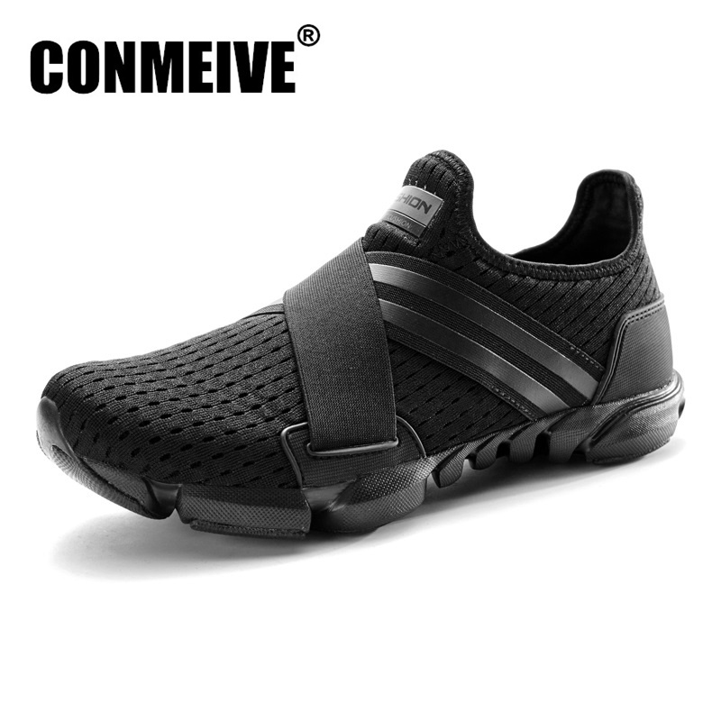 Breathable Male Shoes Adult Summer Casual Men Sneakers Mesh Sweat-Absorbant Fashion Brand Black Light Man Loafers Big Size 39-46