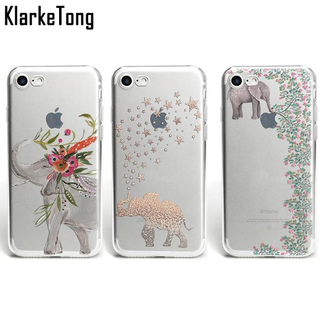 94aa12b96786 KlarkeTong Fashion Cartoon Animal Case For iPhone 6s Cute Elephant Phone  Cases For iPhone X 8 7Plus 5s SE Transparent TPU Cover