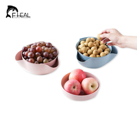 FHEAL Wheat Straw Double Layer Storage Box Kitchen Bowl Fruit Snacks Storage Trays Party Dry Fruit