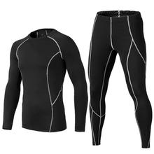 Men's Tight Running Jogging Suits Warm Sports Clothes Long T-shirt +Pants Gym Fitness Workout Tights Sweater Leggings