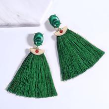 2019 Trendy Green Resin stone Statement Drop Tassel female earrings for women geometric gift to ladies jewelry women's earring resin tassel geometric drop earrings